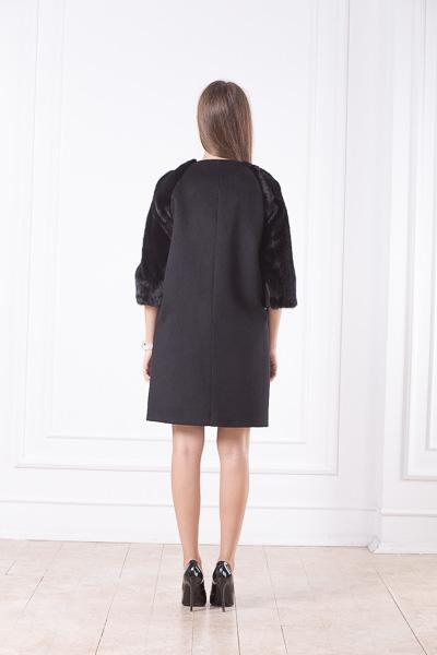 Шерстяное пальто с мехом бобра Хани сзади
