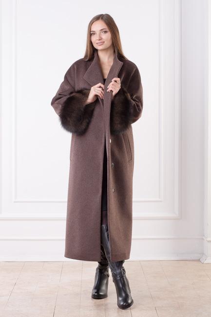 Женское зимнее пальто с мехом Лиана спереди