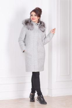 Зимнее пальто-парка с капюшоном и мехом Вера