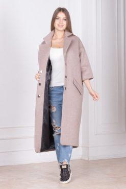 Бежевое пальто оверсайз женское Шер