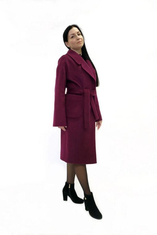 Женское шерстяное пальто Доминика бордовое