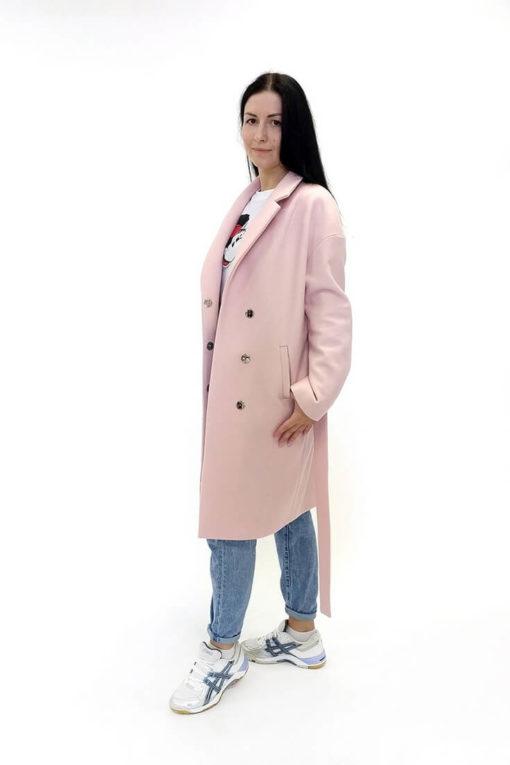 Шерстяное розовое пальто Есения сбоку