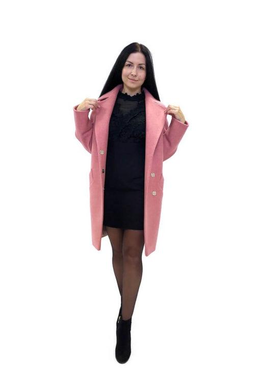 Пальто розовое женское шерстяное Тейлор