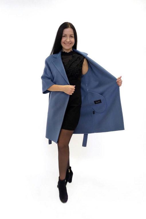 Голубое пальто из двусторонней ткани без подкладки Вена
