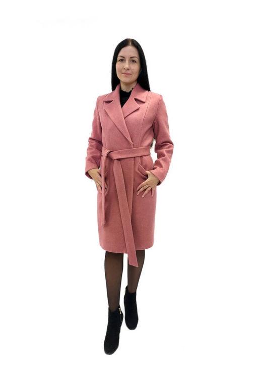 Женское розовое пальто из шерстяной ткани Юстина