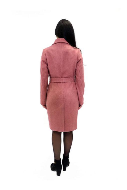 Женское розовое пальто из шерстяной ткани Юстина сзади